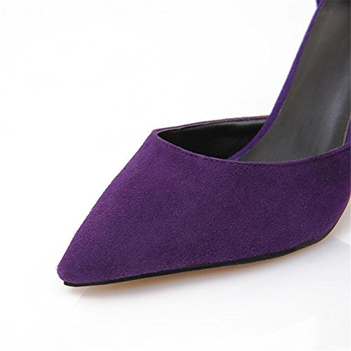 Heels Size Dress Women's Purple Court Stiletto Smart Purple Work Sexy Ladies Shoes Pumps Pointed Strap Closed High Ankle Toe Sandals xRZqUYrRw