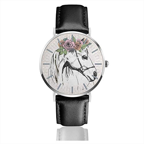 Watch Portrait of Horse Polka Dot Personalized Wrist Watches Quartz Stainless Steel and PU Leather for Unisex