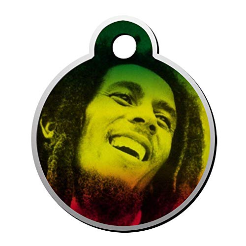 BSARRE Custom ID Pet Tag Double Sided Stainless Steel Necklaces Dog Tag Round Bob-Marley (Ae Sonnenbrille)