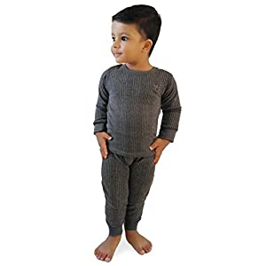 HAP Kings Round Neck Grey Melange Winter Thermal Set of Top Trouser for Kids/Thermal for Boys and Girls/Kids Thermal