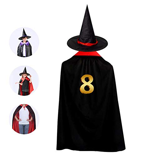 Gold Number 8 Cloak Wizard Witch Cape With Hat Cap Reversible Ponchos For Kid Halloween Party Cosplay Costume]()