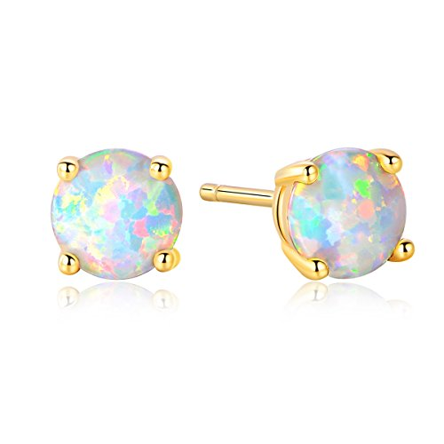 GEMSME Created Opal 8mm Round Stud Earrings(8mm) (Gold) (Gemstone Gold Opal)