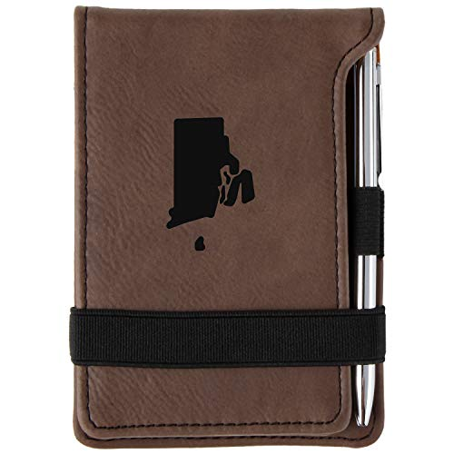 Rhode Island Engraved Leather Personalized Mini Notepad With ()
