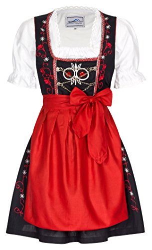 Mini Dirndl Chouette - rot, schwarz Oktoberfest Dirndlkleid - Original Frohsinn - Alle Größen, Rot, 38