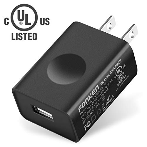 UL Certified USB Wall Charger, FONKEN 5V 2A Power Adapter Universal Travel Charger USB Plug Cell Phone Charger for Compatible with iPhone, iPad, Google Nexus, Samsung, LG, HTC, Moto, Kindle and More ()