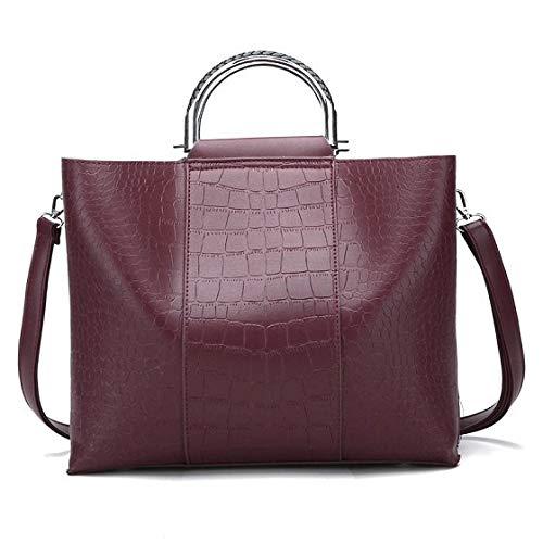 34bcb5339a6 Amazon.com: PU leather Women Bag European and American Tote Bags Fashion  Handbags Shoulder Bag Lady Large Capacity Handbag Color wine-red  L30cmH16.5cmW12cm: ...