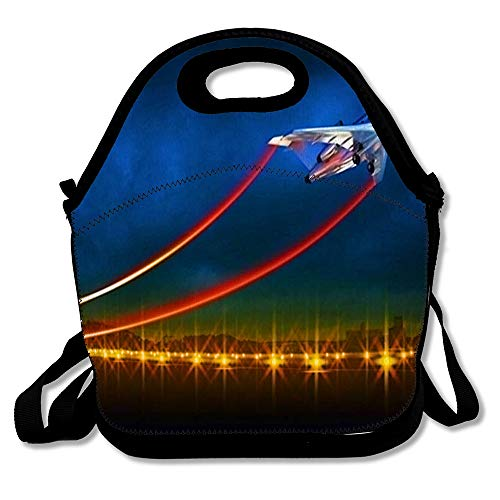 Insulated Lunch Bag Flight Aircraft Take Off On Night Airport Bright Route Lights Runway Speed Lines from Airplane Design Reusable Lunch Tote for Work and School