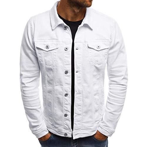 Willsa Men's Coat Autumn Winter Button Solid Color Vintage Denim Jacket Tops Blouse ()