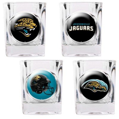 Jacksonville Jaguars - 4 Piece Square Shot Glass Set w/Individual Logos (4 Square Piece Nba)