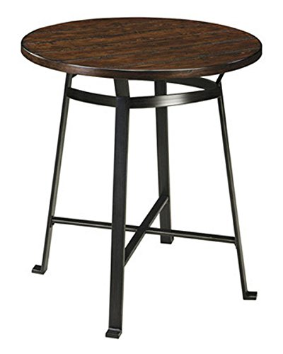 Ashley Furniture Signature Design - Challiman Dining Room Bar Table - Pub Height - Round - Rustic (Kitchen Round Pub Table)