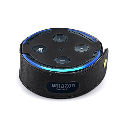 Price comparison product image Mystery Echo Dot Case, Portable Carrying Travel Bag Protective Hard Case for Amazon Echo Dot (Fits all-new Echo Dot 2nd Generation Only) - Premium Vegan Leather Cover Sleeve Skins, Black
