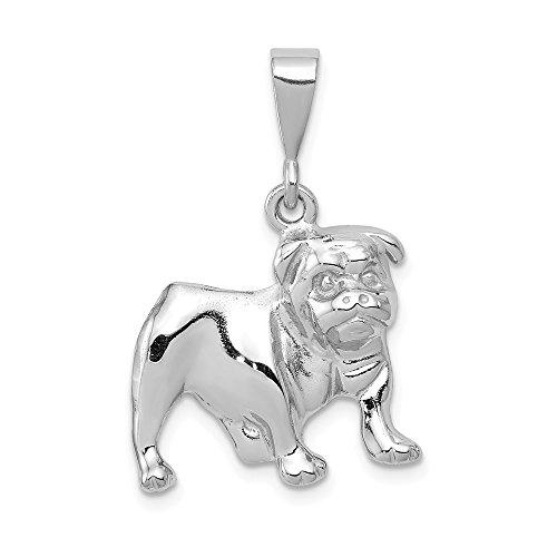 (14k White Gold Bulldog Pendant, 14 kt White Gold)