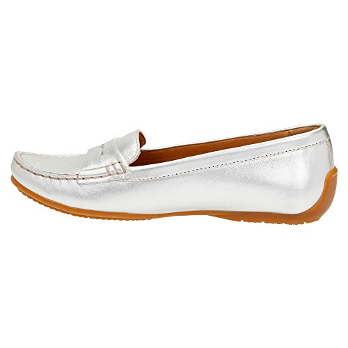 CLARKS Damen Doraville Nest Slip-On Loafer Silber Vollnarbenleder