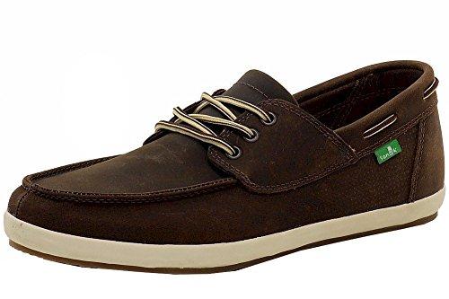 Sanuk Men's Casa Barco Deluxe Boat Shoe, Brown, 8 M US - Sanuk Mens Leather