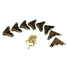 8pc. Antique Brass-plated Box Corners with Decorative Stamped Design
