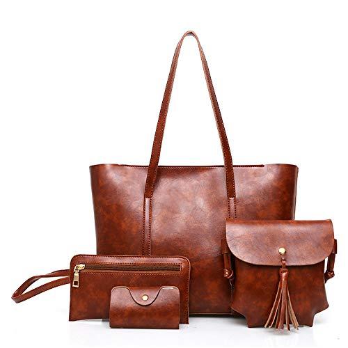 Mano Clutch Handbag Borse Brown Red Borse E Pochette BorsettaBorsa A Zainetto Pezzi Grande Borsa 4 LUCKYCCDD Portafoglio Spalla Donne Tracolla Tote Set A Tracolla Set 1xZw7Awq