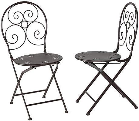 Cortesi Home Bebe - Juego de 2 sillas Plegables de Metal ...