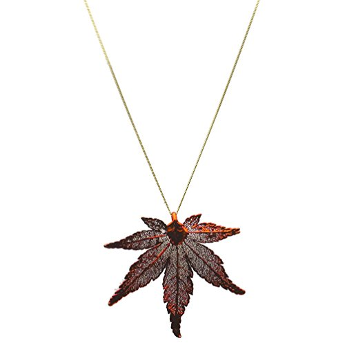 Joyful Creations Irridescent Copper-Plated Japanese Maple Leaf Pendant 18k Gold-Flashed Sterling Silver Chain 24
