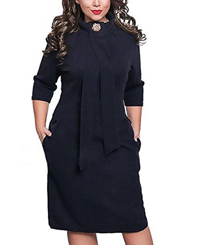 Damen Kleider Elegant Herbst Winter Oversize Festlich Kleid 3/4 Arm ...