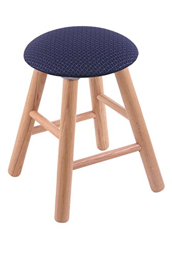 Oak Vanity Stool in Natural Finish with Axis Denim Seat - Oak Finish Farmhouse
