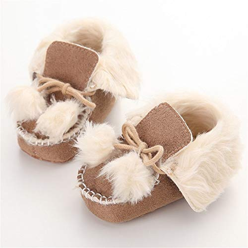 Cute Newborn Infant Toddler Shoes with Two Cute Balls Cotton Soft Sole Shoes Brown