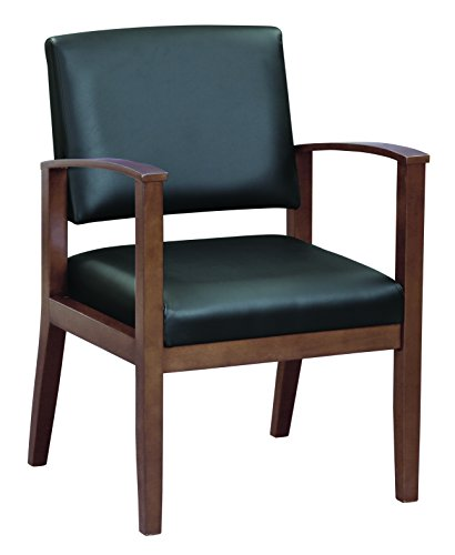 OfficeSource Chelsea Designer Office Guest Arm Chair, Mahogany Finish, Black Bonded Leather, Sold Wood Frame, Reception, Waiting Rooms (1600MHTEK)