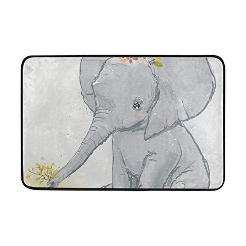 GRATIANUS Doormat Elephant with Little Duck Lightweight Non Slip Door Mats Indoor Bathroom Kitchen Decor Rug Mat Welcome Doormat 15.7