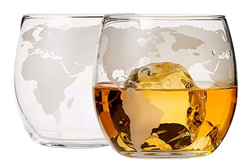 (Whiskey Glasses Set of 2, Lead Free Old Fashioned Etched Globe Whiskey Tumblers - 10 oz Glassware for Scotch, Whiskey, Liquor and Cocktails)