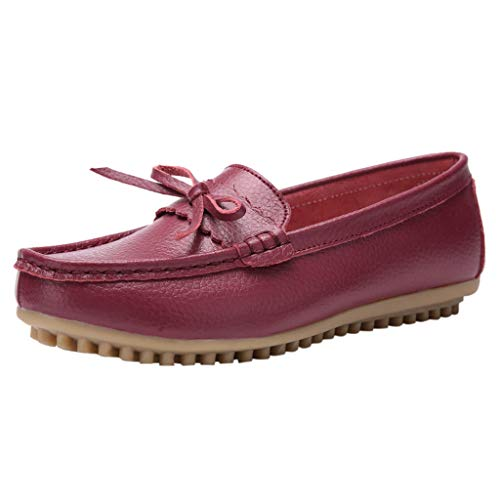 Toimothcn Women Penny Loafers Split Leather Slip-On Comfortable Driving Moccasins Flats Ballet Shoes(Wine,US:5)