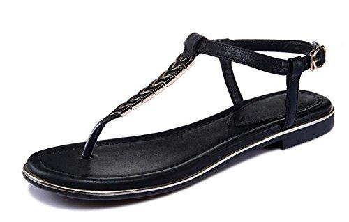 Xia Jiping sandalias de las mujeres inferiores sandalias de playa clip de dedo del pie Black