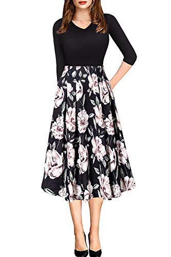 Church Dresses for Women Casual Work High Waist Hide Tummy Midi Floral Dress Black - Patchwork Cocktail