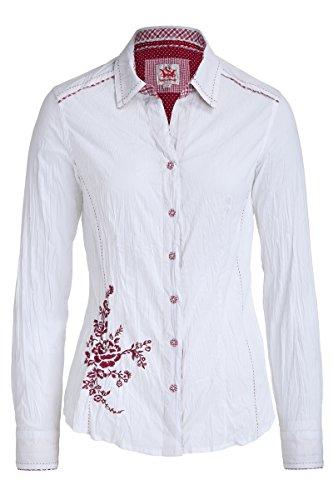 Spieth & Wensky Damen Trachten Bluse in Crash Optik Atlas 4128 weiß-rot