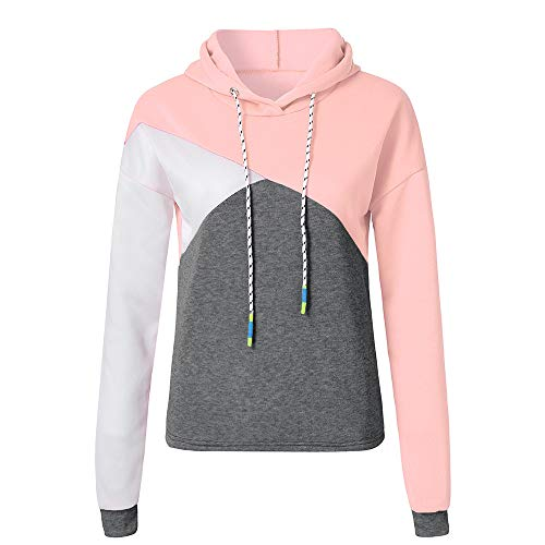Price comparison product image Misaky Women's Hoodie Autumn Winter Long Sleeve Patchwork Sweatshirt Pullover Tops Blouse(Pink,  Medium)