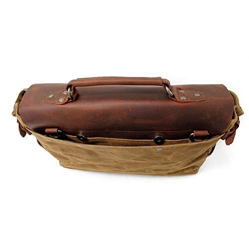 Cera 12 De Aceite 36 Brown La Mensajero Informal 5 Hombre 27cm Bolsa ayng Impermeable Bolso Vendimia Lona Portatil black Mochila Hombro Wy 6USZw