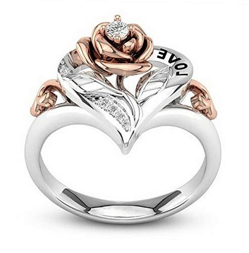Crookston 925 Silver Woman 18K Gold Fil Flower White Topaz Engagement Ring Size 6-10 | Model RNG - 15182 | ()