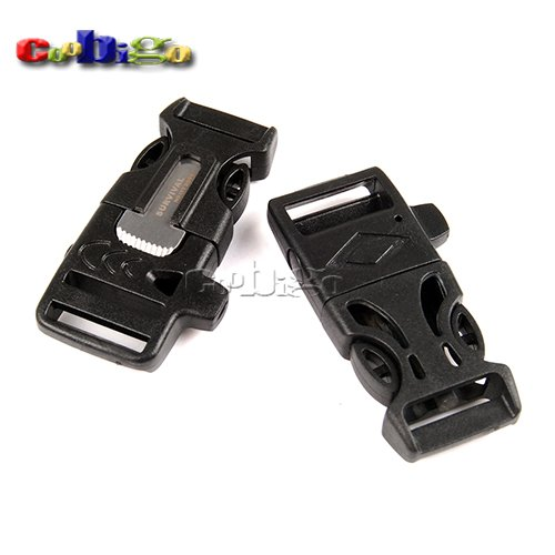 "10Pcs 3/4"" (19mm) Fire Starter Survival Whistle Buckle Flint Scraper For Paracord Bracelet"