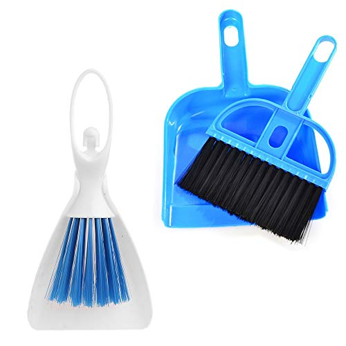PIVBY Mini Hand Broom and Dustpan Sand Scooper Set Cage Cleaner for Guinea Pigs, Cats, Hedgehogs, Hamsters, Chinchillas, Rabbits, Reptiles, and Other Small Animals 2 Pack