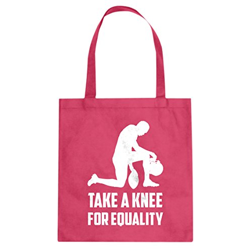 (Tote Players Take the Knee for Equality Large Hot Pink Canvas Bag)
