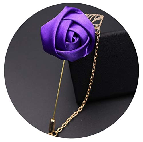 1 Piece Fashion Suit Suits Brooch Pins Brooches Men Wedding Rose Flower Chain Leaf Corsage Jacket Lapel Pin Brooches Dark Purple