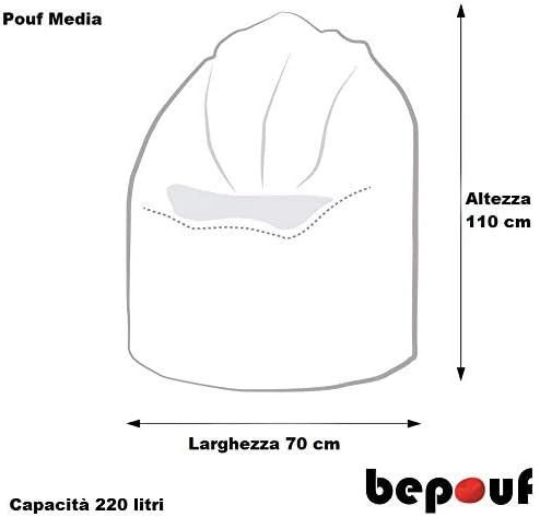 Bepouf Poltrona Chaise Longue Puf Pouf Dimensioni 110x80 Poliestere Pieno Azzurro
