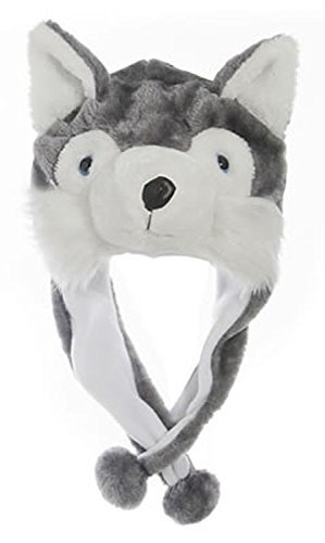 Animal Head Super Soft Plush Childrens Hat - Grey Wolf]()