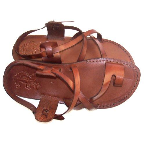 Unisex adultos/niños piel sandalias/chanclas bíblica (Jesús–Yashua) Jesús–Yashua estilo I–Tierra Santa mercado camello marca