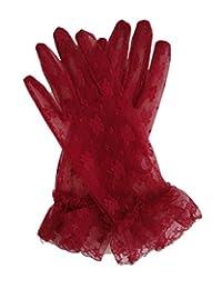 Fancy Sheer Lace Wedding Party Vintage Dress Gloves Wrist Length (Dark Red)