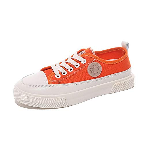 Goldencar Women's Canvas Shoes Biscuits White Shoes Low to Help with Women's lace Single Shoes Orange 6 M US