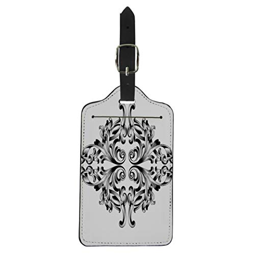 - Pinbeam Luggage Tag Damask Vintage Baroque Corner Retro Pattern Antique Acanthus Suitcase Baggage Label