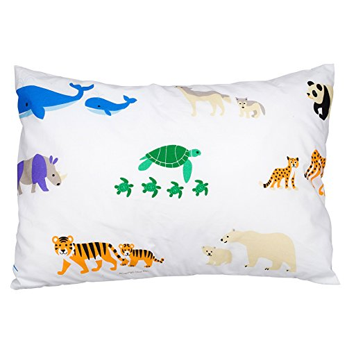 Wildkin Hypoallergenic Toddler Pillow Case, Features 100% Super Soft Cotton, Bold Patterns Coordinate with Other Bedding and Room Décor, Olive Kids Design - Endangered Animals