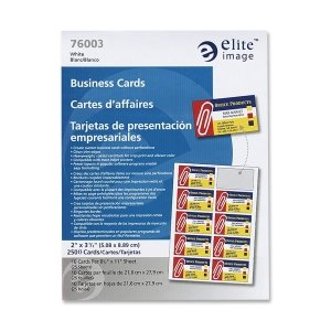 Elite Image 76003 Business Cards for Laser Printers 3-1/2-Inch x2-Inch 2500/BX White
