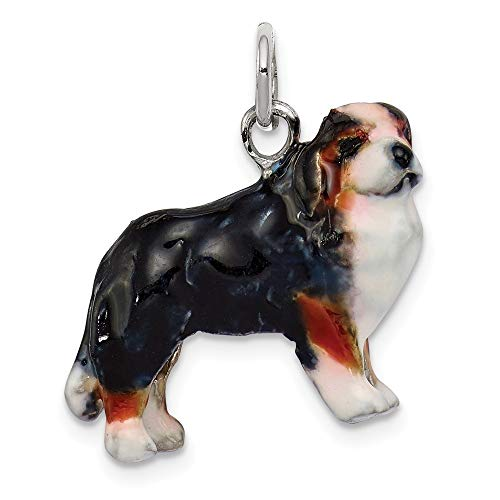Roy Rose Jewelry Sterling Silver Enameled Bernese Mountain Dog Charm