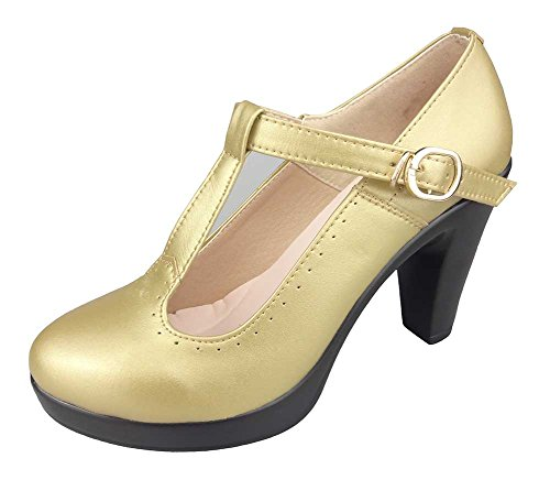 CHFSO Womens Stylish Solid T-strap Buckle High Chunky Heel Platform Dance Shoes Gold