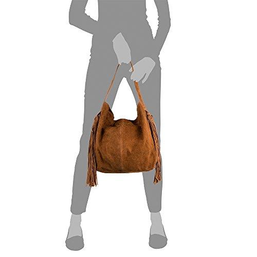 à épaule italienne Sac en in main genuino femmes franges de Sac Vera Main peau Made Sac cuir véritable à Femme cuir 42 Italy Firenze Pelle Shopping Cuir Co nbsp;cm 12 Chamois en Bag nbsp;x artegiani Boho 34 nbsp;x z7Cwqv